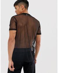 T-shirt orné en maille ASOS pour homme en coloris Black