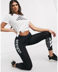 Adidas Originals Black Adidas Training Logo 7/8 leggings