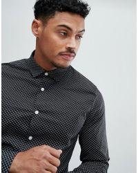 Camisa de vestir elástica con estampado de florecillas ASOS de hombre de color Black
