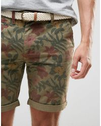 Bellfield - Green Overdye Floral Print Short With Belt for Men - Lyst
