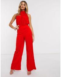 Красный Комбинезон-халтер AX Paris, цвет: Red