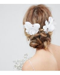 ASOS White Design Bridal Pack Of 2 Orchid Style Hair Clips