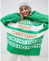 Jersey navideo con lentejuelas y eslogan de ASOS de color Green