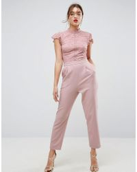 95fc810d50 Lyst - ASOS Lace Top Jumpsuit With Fluted Sleeve in Pink