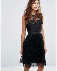 Whistles Black Anouk Frill Lace Dress