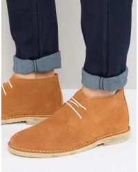 ASOS Brown Desert Boots In Tan Suede - Wide Fit Available for men