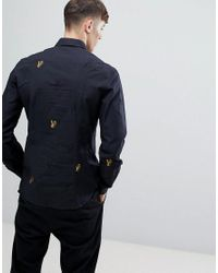 991c1433 Versace Jeans Black Slim Shirt With All Over Embroidery for men