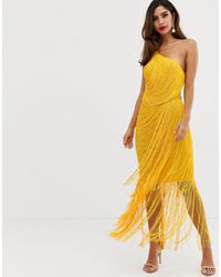 Vestido largo asimétrico con flecos drapeados en toda la prenda ASOS de color Yellow