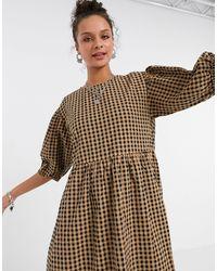 Бежевое Свободное Платье Миди В Клетку Из Органического Хлопка Yoyo-neutral Monki, цвет: Natural