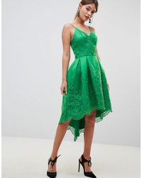 Chi Chi London Green Premium Lace Dress With Cami Strap