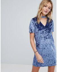 Hollister Blue Crushed Velvet Choker Dress