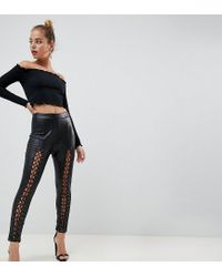 Missguided Black Lace Up Leather Look Trousers