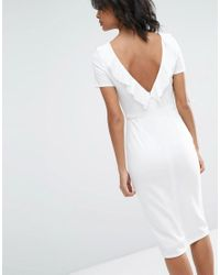 ASOS - White Ruffle Back Midi Dress - Lyst