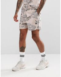 ASOS - Co-ord Slim Shorts With Peony Print In Pink for Men - Lyst