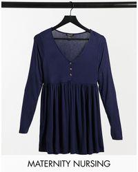 Темно-синий Топ С Баской New Look, цвет: Blue