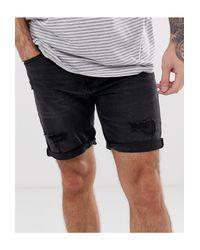 Pull&Bear Blue Slim Denim Shorts for men