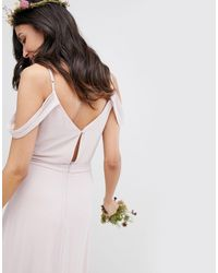 TFNC London Brown Cold Shoulder Wrap Maxi Bridesmaid Dress With Fishtail