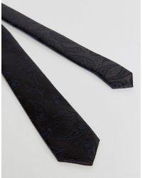 Jack & Jones - Black Slim Tie With Paisley Jaquard for Men - Lyst