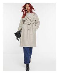 Серое Классическое Пальто С Поясом На Талии -neutral Vero Moda, цвет: Natural