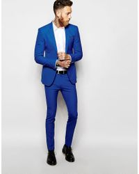 ASOS Super Skinny Suit Trousers In Blue for men