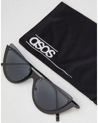ASOS - Black Asos Sliced Top Extreme Cat Eye Sunglasses - Lyst