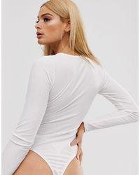 Body côtelé avec anneau Missguided en coloris White