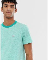 Tommy Hilfiger T-Shirt in Grüner Kalk mit abgesetztem Ausschnitt und Pikee-Flaggenlogo in Green für Herren