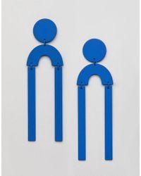 Missguided - Novelty Geometric Drop Earrings In Blue - Lyst