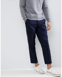 Farah - Blue Cropped Pants In Wool Mix Slim Fit for Men - Lyst