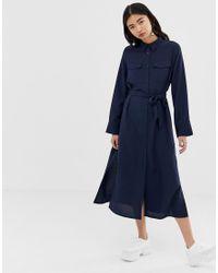 Robe chemise mi-longue fonctionnelle - Bleu marine Monki en coloris Blue