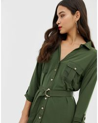 Vestito camicia multitasche kaki di Oasis in Green