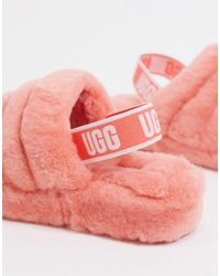 Fluff Yeah - Sandali stile slider corallo di Ugg in Pink