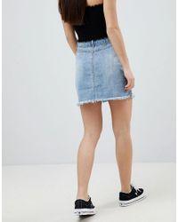 Missguided - Blue Raw Hem Mini Skirt - Lyst