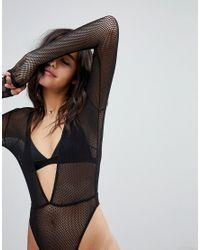ASOS - Black Asos Bambi Fishnet Long Sleeve High Leg Bodysuit - Lyst