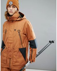 DC Shoes Brown Snow Command Jacket In 30k Sympatex Fabric for men