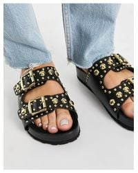 Черные Кожаные Сандалии С Заклепками Tatyana-черный Schuh, цвет: Black