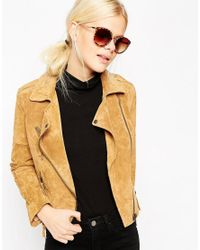 ASOS - Brown Cat Eye Round Sunglasses With Metal Nose Bridge - Lyst