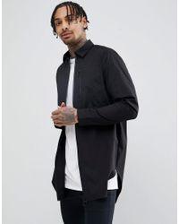Chemise longue avec fermetures éclair renforcées ASOS pour homme en coloris Black
