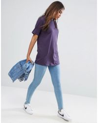 ASOS - Purple T-shirt With Cutout Back - Lyst