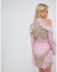 True Decadence Pink Cold Shoulder Lace Dress With Eyelet Detail