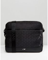 Armani Jeans Nylon All Over Logo Messenger Bag In Black for men