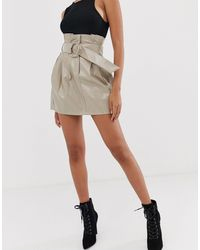 4th & Reckless Natural Paperbag Leather-look Buckle Skirt