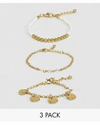 ASOS - Metallic Asos Pack Of 3 Bead And Disc Bracelets - Lyst