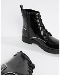 Truffle Collection Zip Detail Lace Up Boot In Black for men