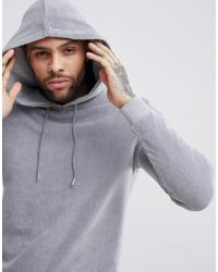 ASOS DESIGN - Muscle Hoodie In Gray Velour With Curved Hem for Men - Lyst