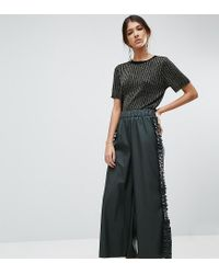 ASOS Green Frill Side Leather Look Culotte Pants