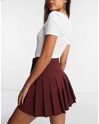 Бордовая Плиссированная Мини-юбка ASOS, цвет: Red