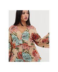 Combishort cache-cœur à manches longues et imprimé floral - Beige Boohoo en coloris Multicolor