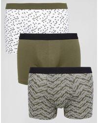 New Look Green Trunks In Khaki Geo Print 3 Pack for men
