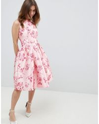 Chi Chi London Midi Dress With Bow Back In Pink Floral Print